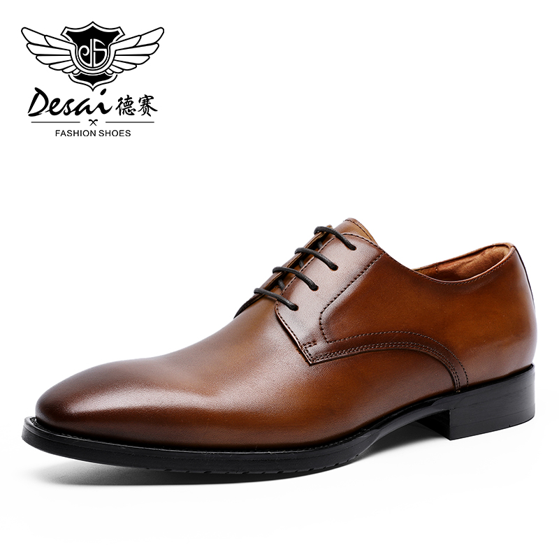 DESAI Summer Formal Shoes Genuine Executive Leather Oxford Shoes For Men Black 2020 Dress Wedding Shoes
