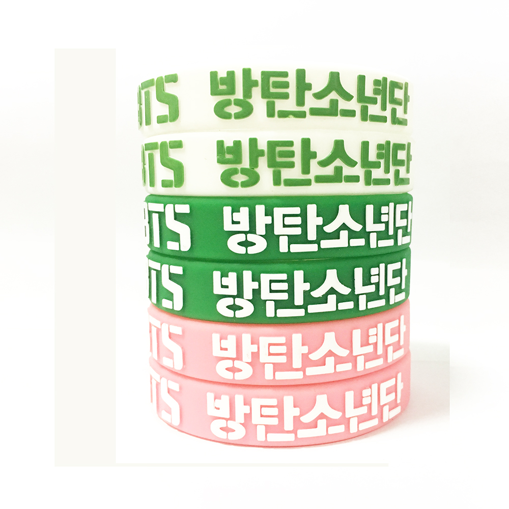 BT21 3 colors embossed printed silicone bracelet fashion accessory 190 *12*2MM