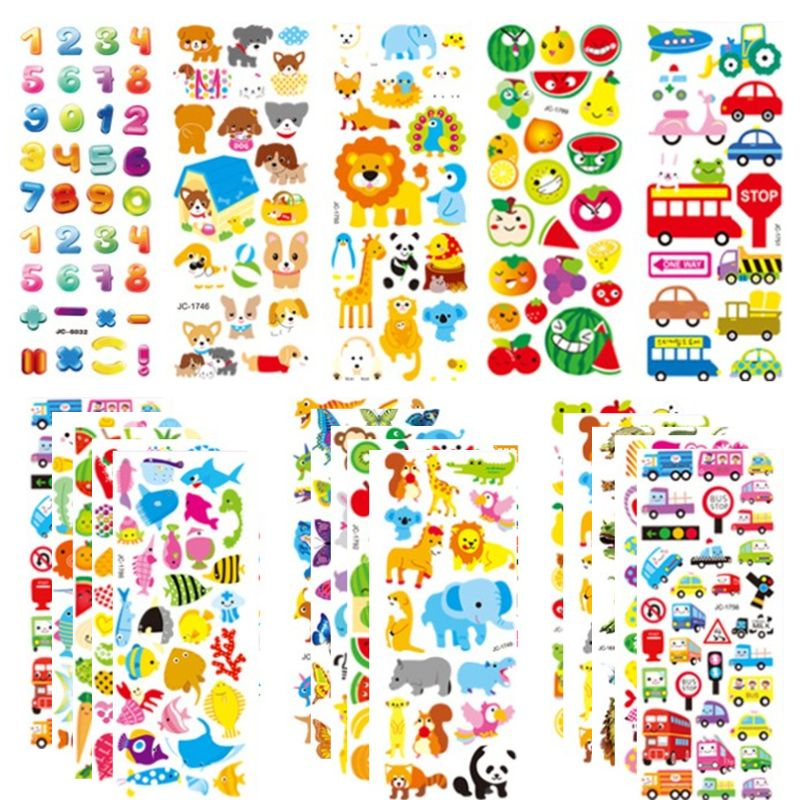 20sheets 3D Stickers for Kids & Toddlers 500+ Puffy Stickers Variety Pack for Scrapbooking Bullet Journal Including Animal, No