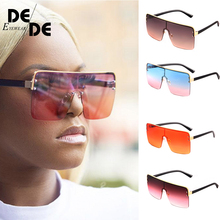 Ladies Oversized Square Sunglass Women New Big Frame Brand Designer Sunglasses Rivet Pink UV400