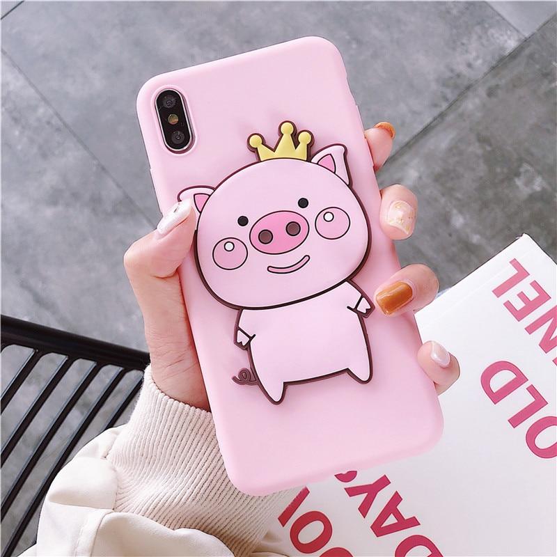 Cartoon 3D Pig Couple Phone Case For Xiaomi Redmi Note 9 9S Pro Note 8T 7 6 5A 6A 7A 8A K20 K30 Pro Mi 10 Pro Mi A3 Cover Case
