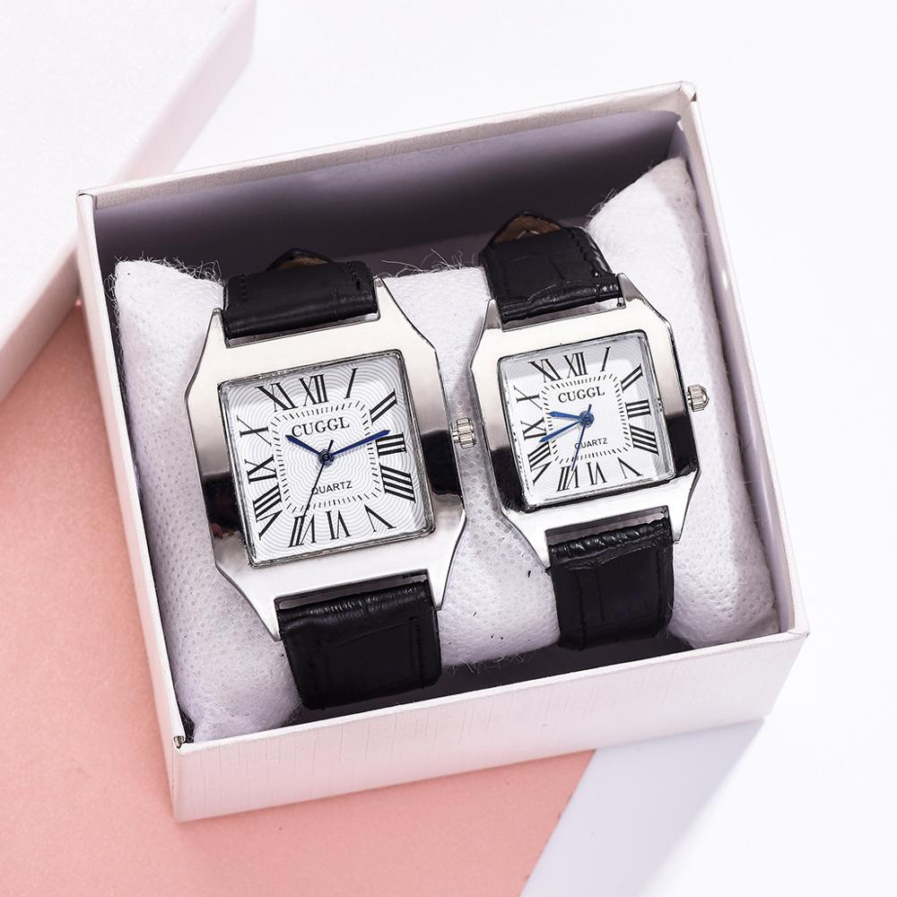 Luxury 2Pcs Set Couple Watch Square Watch Wen Watch Women Black Men Wrist Watch Fashion Sports Quartz Clocks Relogio Feminino