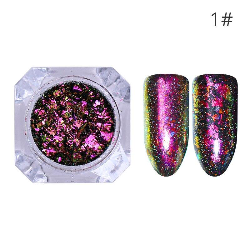 1 коробка жемчужный блеск для ногтей порошок зеркальный матовый эффект блеск Лазерная пыль Маникюр мерцающий пигмент украшение для ногтей - Цвет: 1