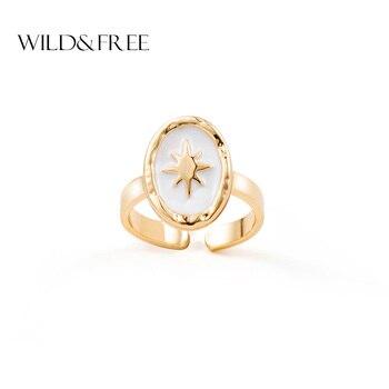 Свободные и свободные кольца в стиле бохо, открытые кольца со звездами для женщин, белая эмаль, золотой сплав, овальная форма, одиночные кольца, ювелирное изделие, подарок, модное ювелирное изделие
