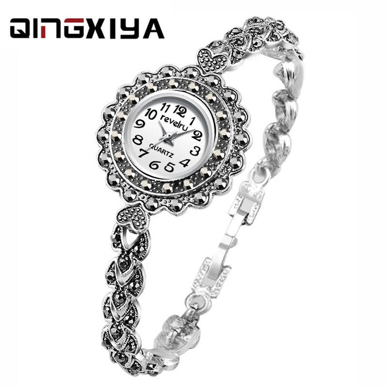 QINGXIYA Luxury  Watch Women Antique Silver Water Drill Bracelet Watch Jewelry Ladies Female Hour Casual Quartz Wristwatches