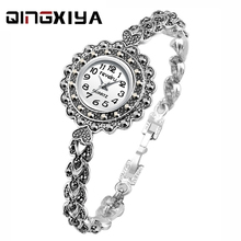 QINGXIYA Luxury Watch Women Antique silver Water Drill Brace