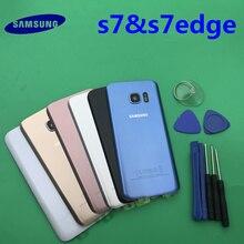 Reemplazo Original, nuevo, Panel trasero de batería, cubierta de puerta trasera de cristal, Samsung Galaxy s7 G930 S7 edge G935 G935F/A/P/T + herramienta