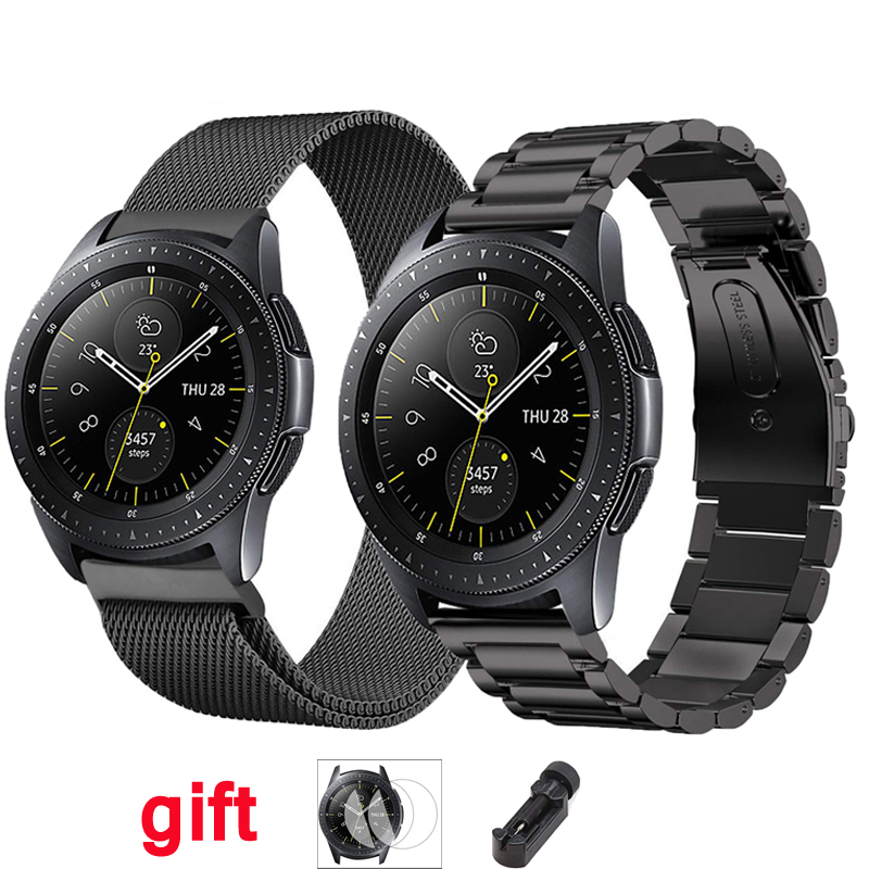 46mm 42mm Strap For Samsung Gear S3 Frontier Galaxy Watch Active Stainless Steel 22mm/20mm Watchband Film+tool+watch Band