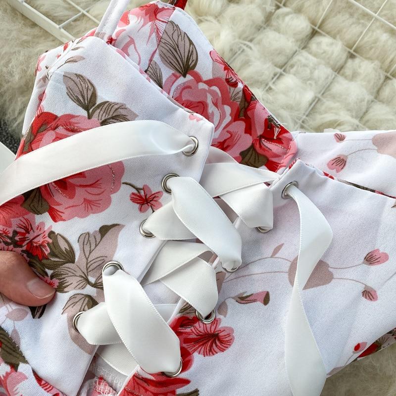 Spaghetti Strap Flower Print Split Bohemian Bandage Dress 18