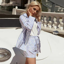 Work OL Suit Female Striped Blue Gray Blazer Shorts Suit Set Female Coat V Neck Sexy Women Office Set 2 Pieces Outfits Female(China)