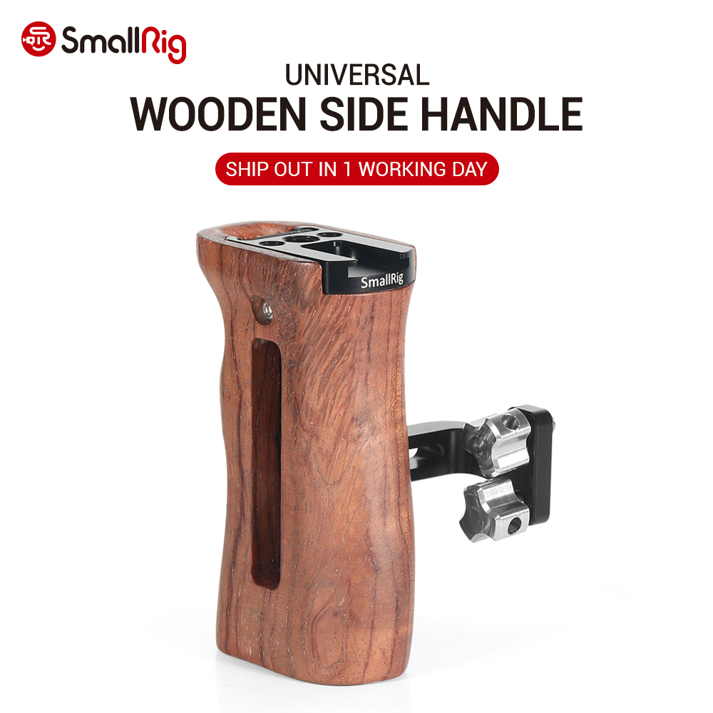 SmallRig Adjustable DSLR Wooden Camera Handle Universal Side Handle Grip W/ Cold Shoe Mount for Microphone and flash light 2093(China)