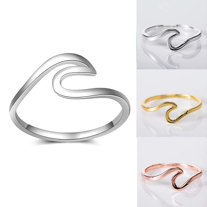 Simple Sea Wave Rings for Women Stainless Steel Irregular Geometry Ocean Surf Finger Ring Wedding Band Fashion Jewelry Accessory