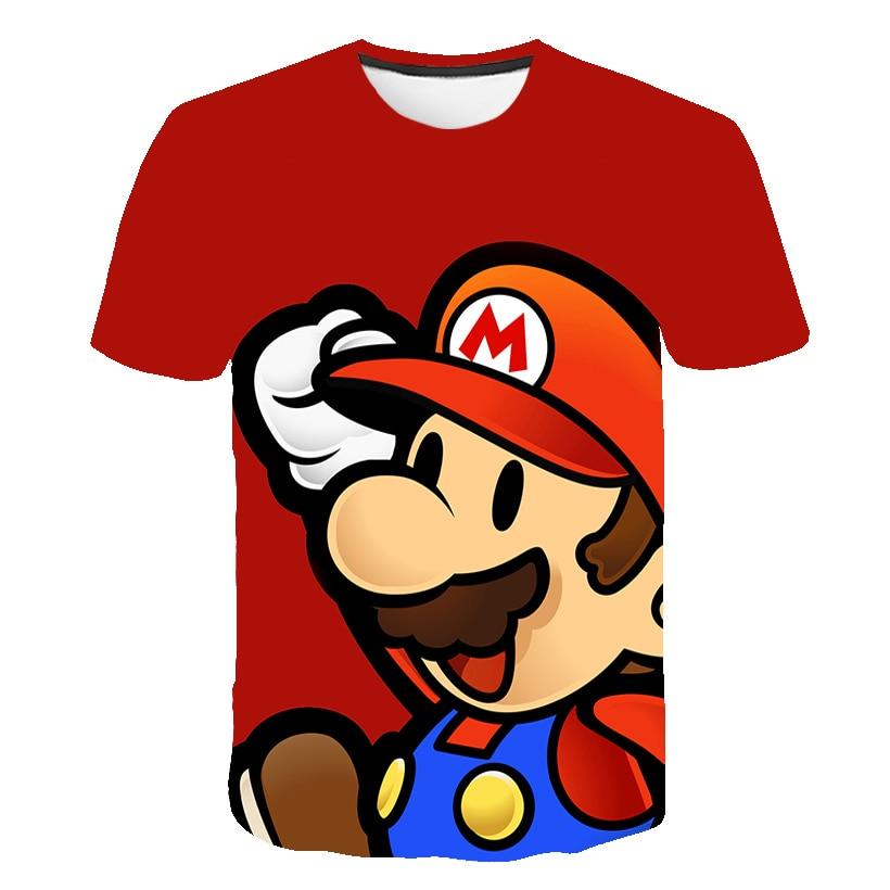 Funny Boys T Shirt Novelty Mario Kids Clothes Cool T-Shirt Brand Tshirt Summer 3D T-shirt Boys Clothes Harajuku Streetwear Tops