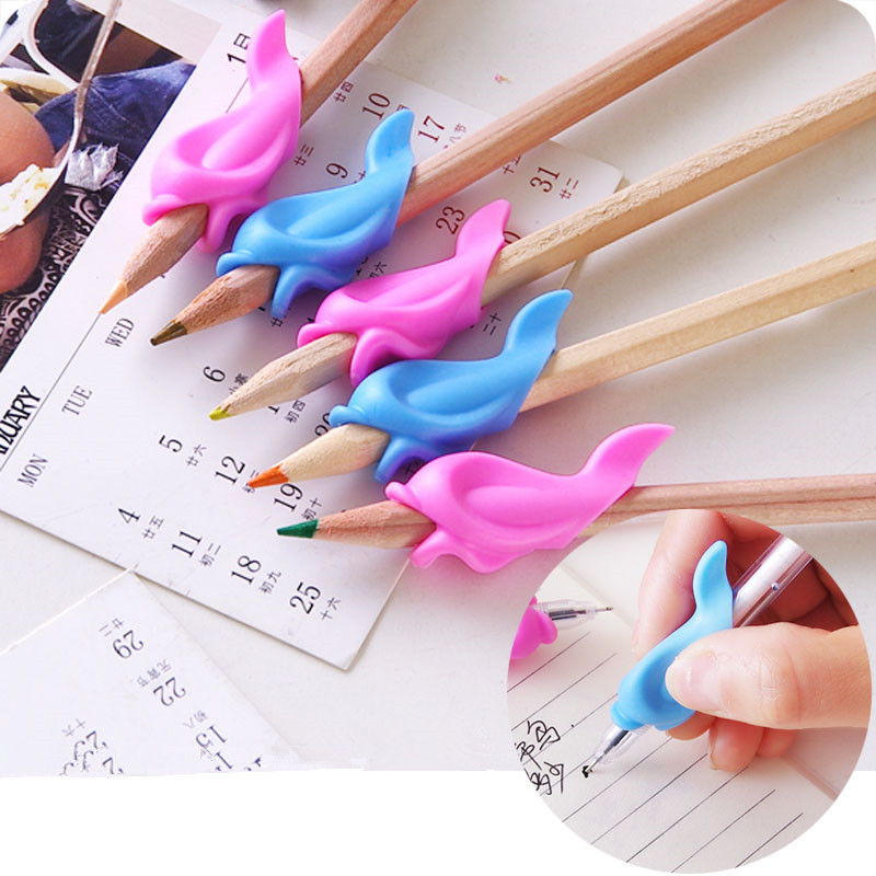 5pcs Dolphin Silicone Pen Holder For Children Pen Writing Aid Grip Kids Learning Practise Posture Correction Device For Students