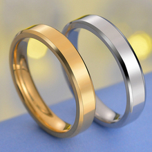 Visisap 4MM Bevel Smooth Ring Dropshipping Stainless Steel Simple 3 Gold Color Rings for Men Women Wedding Party Jewelry S-R231