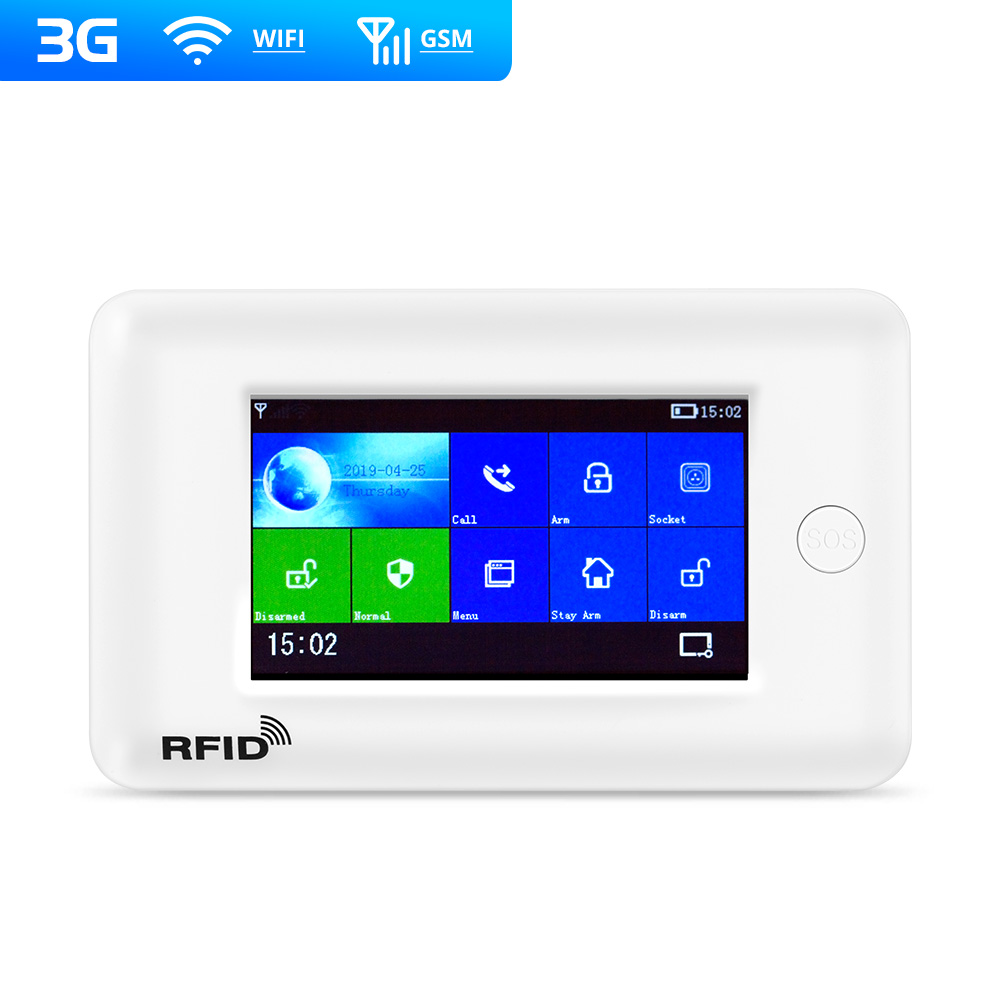 Fuers New Arrivals PG106 3G GSM WiFi Alarm System 10 Language Switchable 4.3 Inch Color Touch Screen With App RFID Card Control