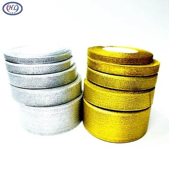 HL 6 10 12 15 20 40 50MM 1 rolka (25 stoczni) złote brokatowe srebrne cebule Riband wstążki tort weselny prezent dekoracji DIY Craft A311 tanie i dobre opinie Brak Voile Jednolity kolor Metalicznej przędzy 0 6CM-5CM gold silver 6MM 10MM 12MM 15MM 20MM 40MM 50MM 1 roll have 25yards