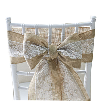 10pcs 15X240CM Lace Hemp Chair Sash Hessian Jute Burlap Chair Band Bow Ties Wedding Party Banquet Supply