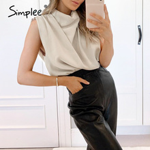 Shirt Tops Simplee Summer Fashion Casual Sleeveless Solid Ladies Turtleneck Office Female