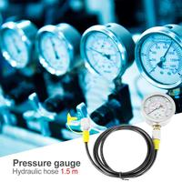 Hydraulic Hose Test Point Coupling 0 600BAR/8500PSI Gauge and 1.5m Hose Kit for Measure Pressure in Hydraulic System