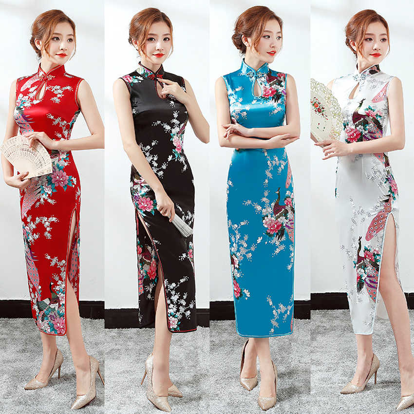 Long Style Woman Floral Chinese Traditional Costumes Qipao Cheongsam Split Dress Sleeveless Oriental Bodycon Satin Dress