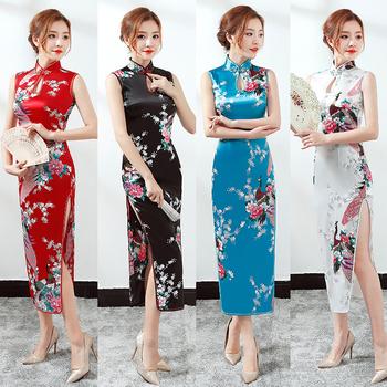 W dłuższym stylu kobieta kwiatowy chińskie tradycyjne kostiumy Qipao Cheongsam rozdzielona sukienka bez rękawów orientalna Bodycon satynowa sukienka tanie i dobre opinie Poliester Satin Chinese traditional costumes Cheongsams Dresses for women Floral peacock Tang suit Split dress Modern style