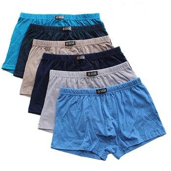 6pcs/Lot ALL Cotton Underpants MenS Boxers Shorts Underwear Pure color Big Size Four  Large Breathable