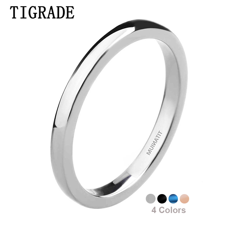 Tigrade High Polished Thin Man Women Titanium Ring Silver Blue Black 4 Colors Wedding Rings Engagement Band bague Female Jewelry