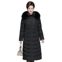 X-long Winter Women Jacket Fur Collar Middle-aged Women Parkas Hooded Warm Thick Cotton Padded Women Winter Coat  Plus Size 6XL цены онлайн