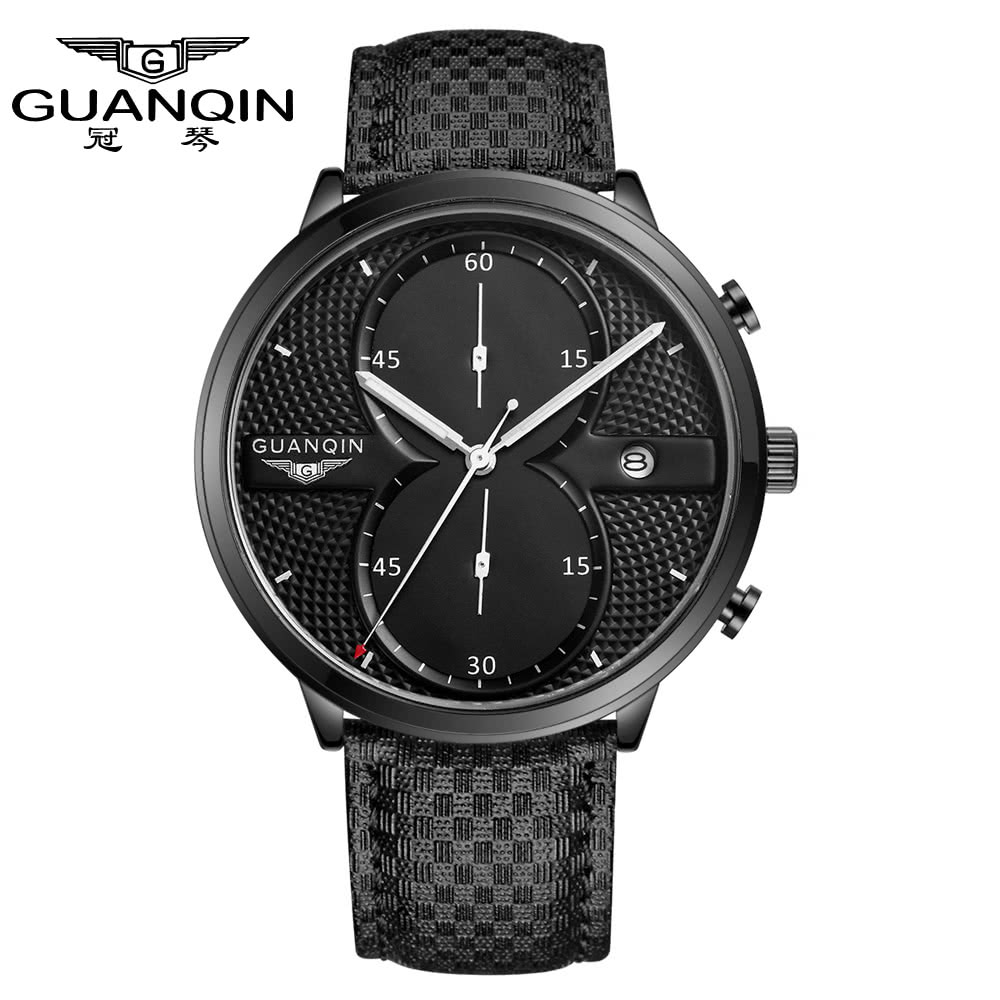 GUANQIN Fashion Men's Luxury Top Brand Big Dial Full Black Sport Quartz Watch with Stopwatch Male Wristwatch|Women's Watches| |  - title=