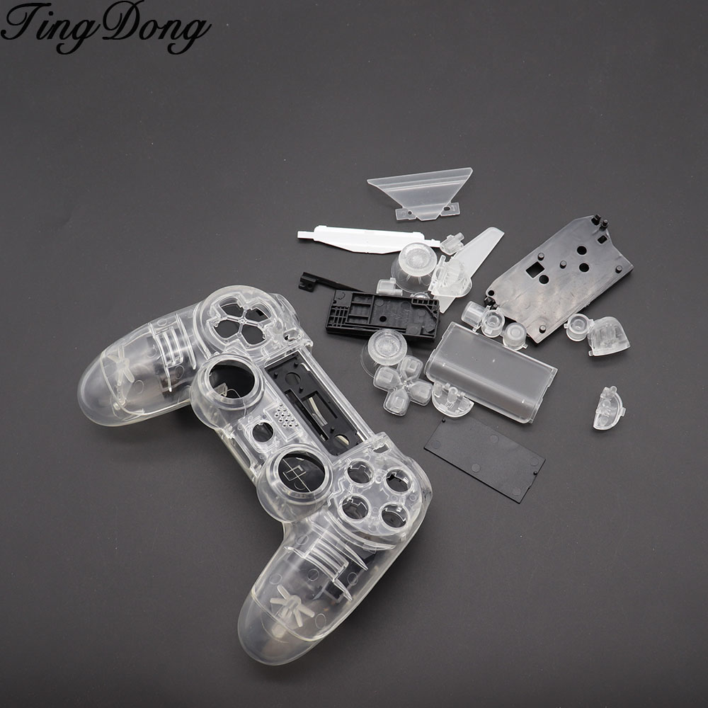 <font><b>PS4</b></font> V1 Controller Custom Clear Transparent Housing Shell Cover <font><b>Case</b></font> Repair <font><b>Mod</b></font> Kit For Sony Playstation 4 PS 4 Limited Edition image