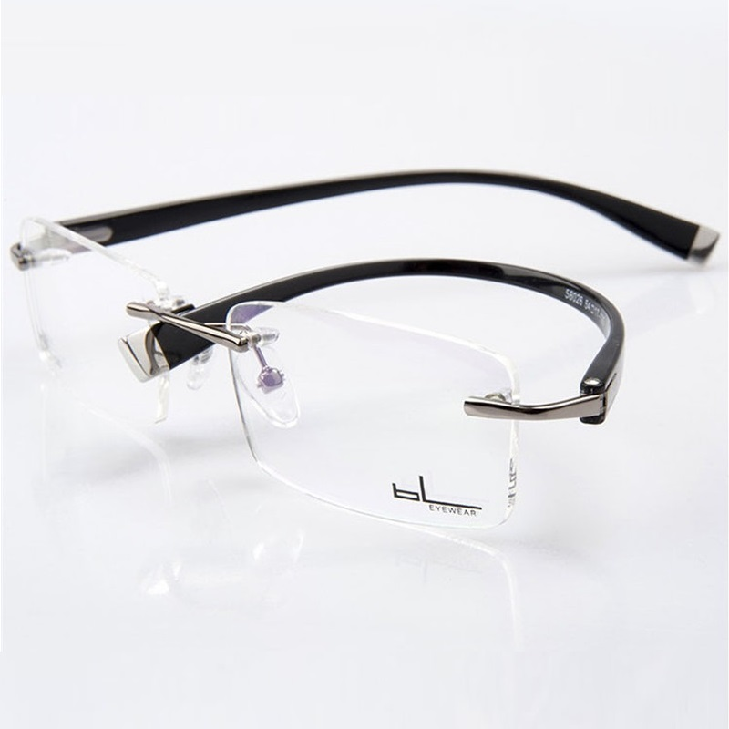 Vazrobe Rimless Glasses Men Progressive Optical 1.61 1.67 MR-8 Strong Lens Anti Scratch Anti Blue Photochromic Lens Multifocal