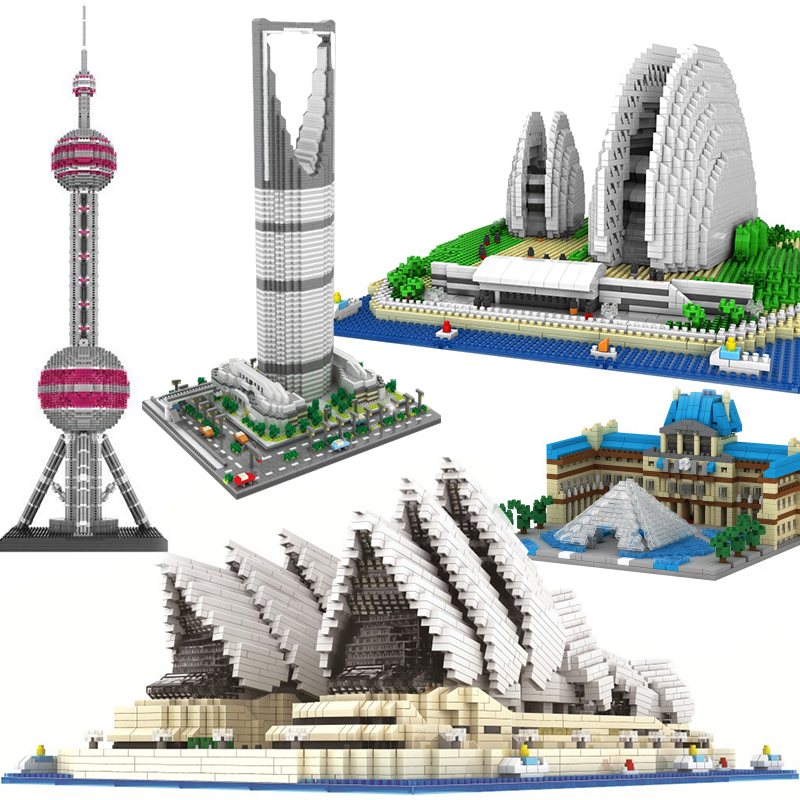 Diamond Model Building Blocks Architecture Sydney Opera House Big Ben Eiffel Tower London Pair Louvre Micro Construction toy(China)