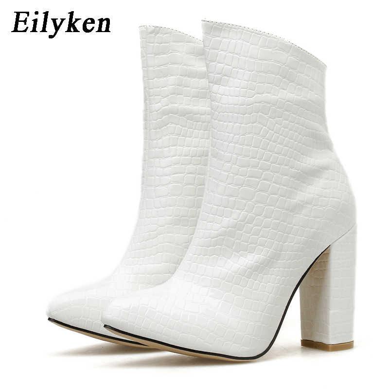 Fashion White Snake Graan Booties Nieuwe Vrouwen Enkellaarsjes Winter Vrouwelijke Wees Teen Hoge Hakken Dames Zip Laarzen Schoenen Vrouwen
