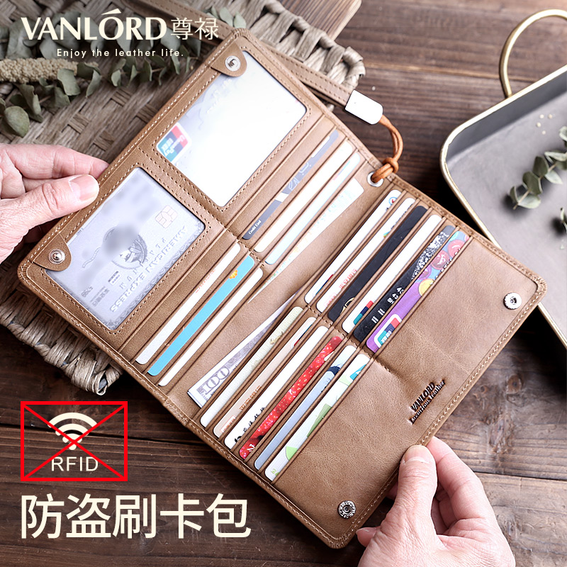Men's card bag leather multi-function hand holding long wallet atmosphere South Korean Leather Passport bag large capacity credi