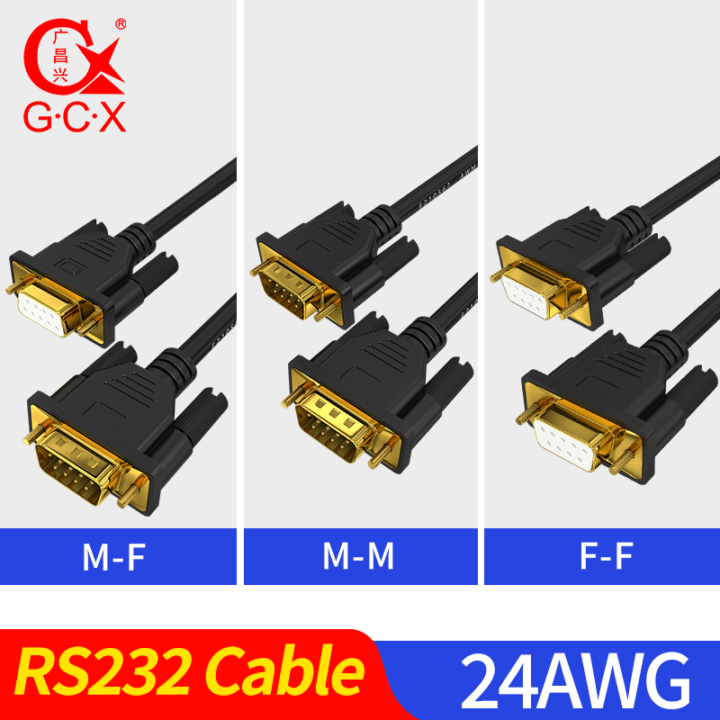 High Quality COM RS232 Cable Serial Cable Male To Male Female Adapter 24 AWG DB 9 Pin Cord Converter Gold Plated DB9 Cable