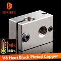 Dforce PT100 V6 медный тепловой блок для E3d V6 Hotend 3d принтер блок нагревания для сенсорного картриджа BMG экструдер TItan