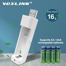 VOXLINK cargador de batería con 1 ranura para AA/AAA, cargador de pilas recargables para micrófono de control remoto, cámara, ratón y linterna