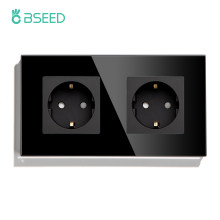 BSEED EU Standard Wall Sockets Single Power Outlets Black Double Frame Sockets Glass Panel Triple Sockets Kids Protection 16A