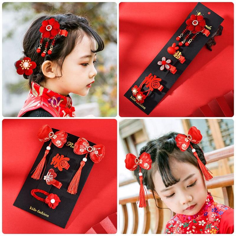 Chinese Style New Year Retro Tassel Princess Flower Hairpins Gift Children Girls Kids Hair Clips Barrettes Accessories Headdress