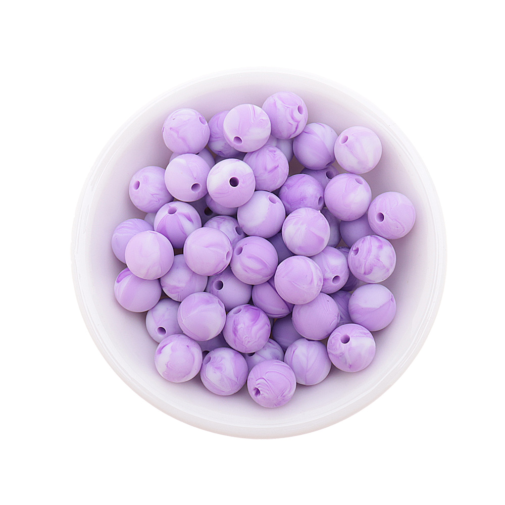 15MM 200PCS Silicone Round Baby Teether Beads New Marble&Metallic Color BPA Free Teething Necklace Pacifier Chain Shower Gift