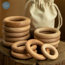 New 5Pcs 40/55/70mm Beech Wooden Baby Teething Rings Wooden Baby Teethers Accessories For Baby DIY Necklace Bracelet Making 2021