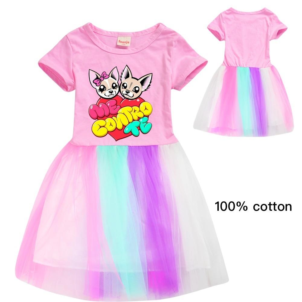 Girls Dress Me Contro Te Animal Print Cartoon Cotton A-Line Knee-Length Vestidos Kids Dresses For Girls Princess Dress Elegant