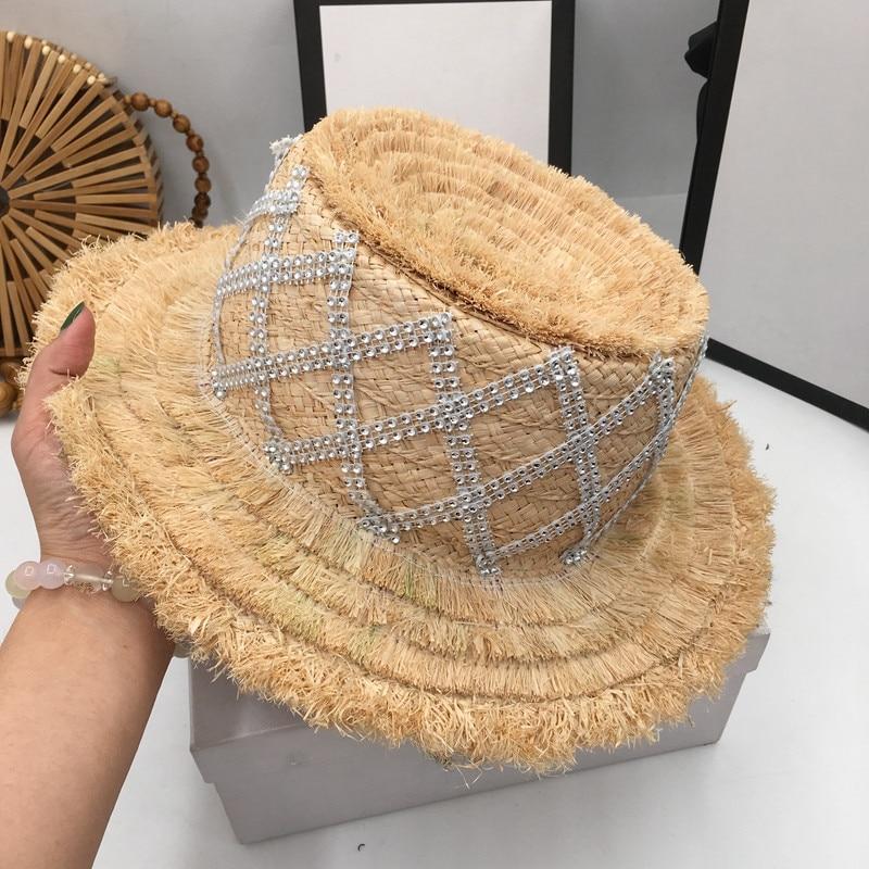 Haute Couture printemps et été frange haut plat paille raphia chapeau de soleil visière mode tempérament déesse vague coréenne