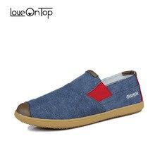Loveontop/ г.; летние модные парусиновые лоферы; Мужская Уличная Повседневная обувь без застежки; обувь на плоской подошве для мужчин; дышащая удобная обувь