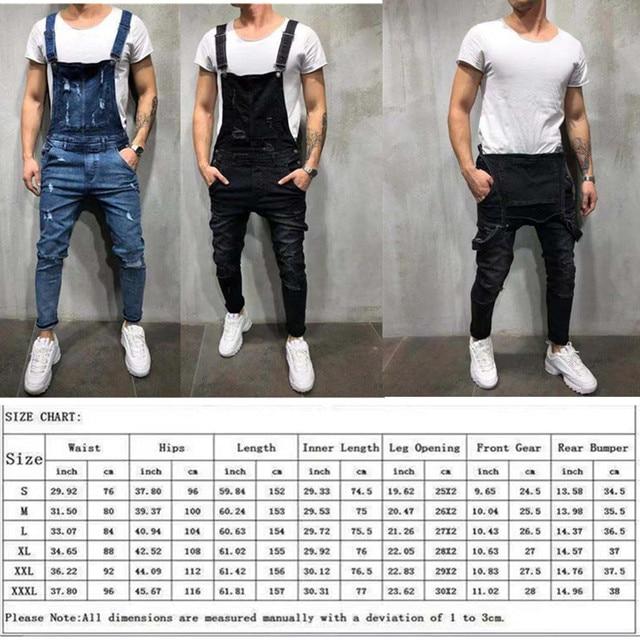 2020 Fashion Men's Ripped Jeans Jumpsuits Hi Street Distressed Denim Bib Overalls For Man Suspender Pants Size S-4XL Overalls 5