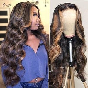 UWIGS 4/27 Highlight Wig Brazilian Body Wave Wig Burgundy 99j Lace Front Wig 1B/27 Ombre Human Hair Wig 180 Density Remy Wigs(China)