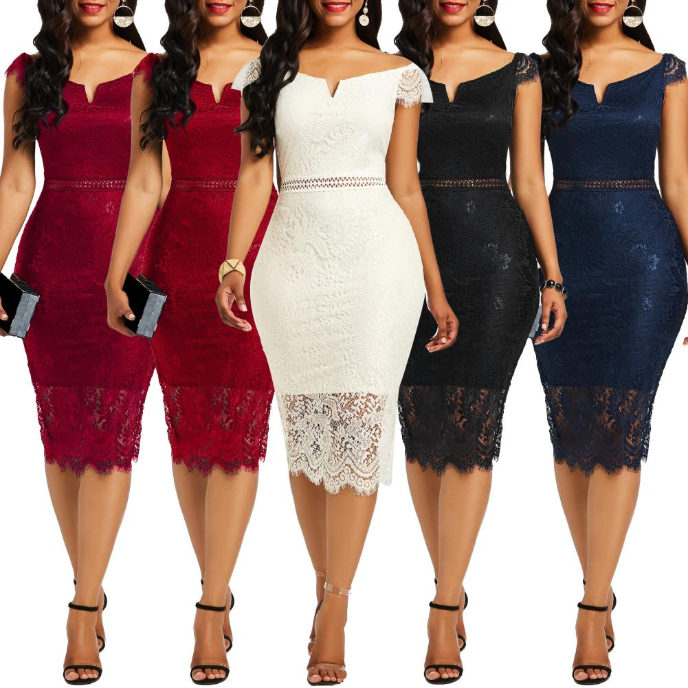 Evening Party Women Sexy Off Shoulder V Neck Hollow Lace Bodycon Midi Dress