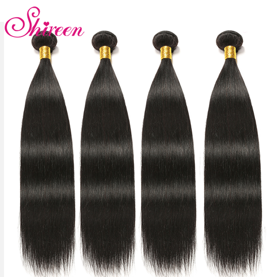 Shireen Hair Straight Brazilian Hair Weave Bundles 10-30 Inch Natural Color Human Hair 3 Bundle Deals 100% Remy Hair Extensions