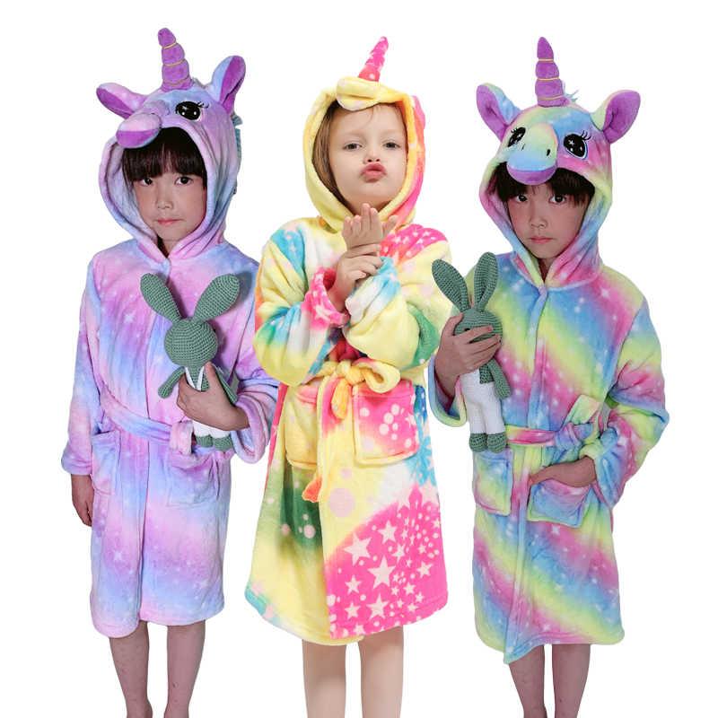Crianças roupão para meninas kugurum unicórnio pijamas crianças colar velo meninos roupões de banho camisola do bebê pijamas com capuz banho robe